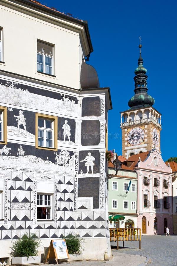 Plaza principal, ciudad Mikulov, Moravia del sur, República Checa fotos de archivo libres de regalías