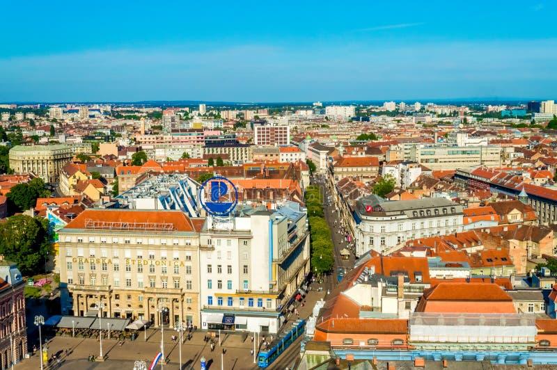 Plaza principal de Zagreb y visión aérea fotografía de archivo