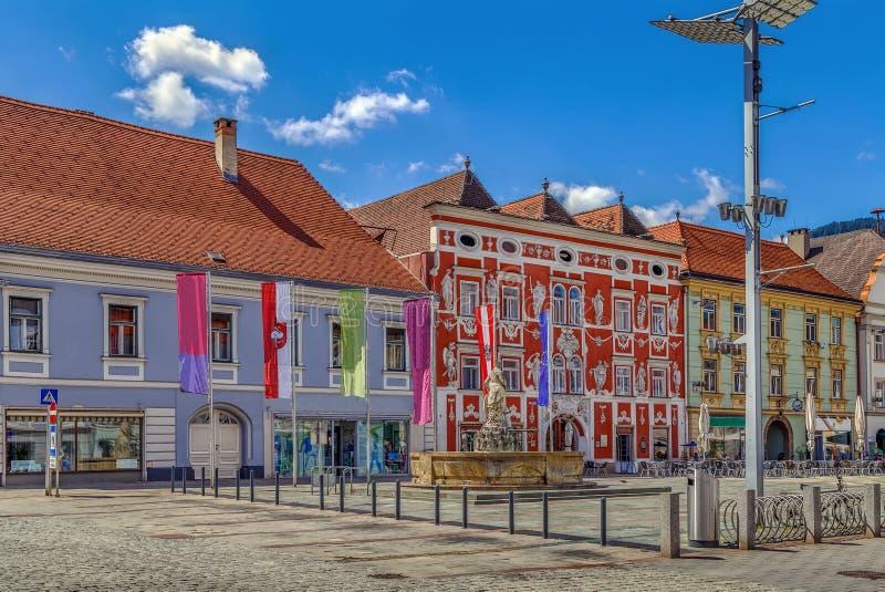 Plaza principal en Leoben, Austria imagen de archivo libre de regalías