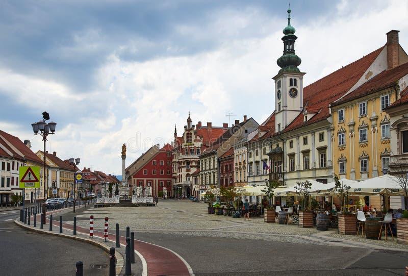 Plaza principal, Maribor, Eslovenia imagen de archivo