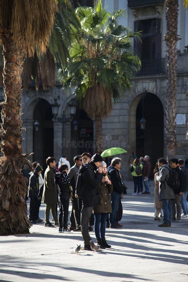 Plaza real en la ciudad de Barcelona, Espa?a fotos de archivo libres de regalías