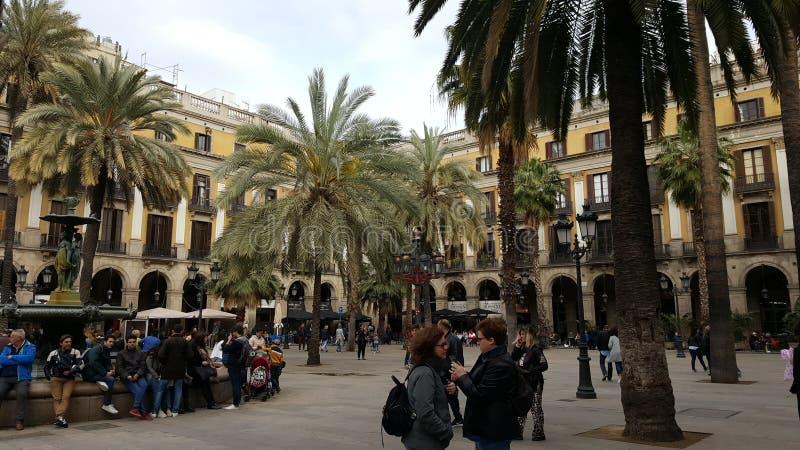 Plaza Reial Barcelona arkivbild