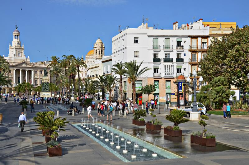 Plaza San Juan De Dios, Cadiz, Spanien arkivbild