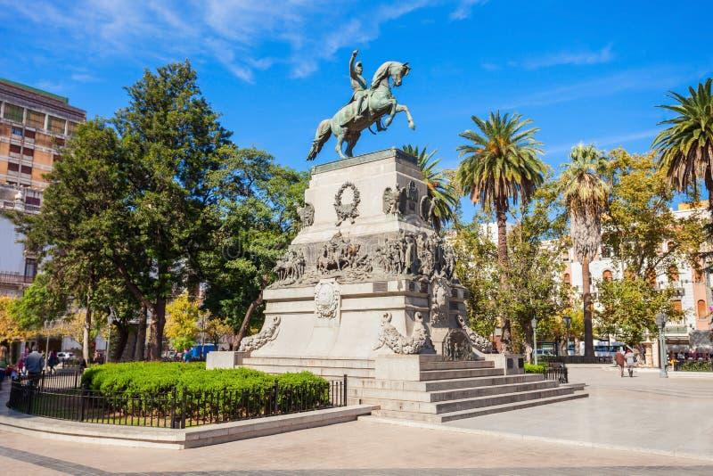 Plaza San Martin, Cordoba. General Jose de San Martin monument on Plaza San Martin square in Cordoba, Argentina. Jose de San Martin is a hero of the Argentine stock images