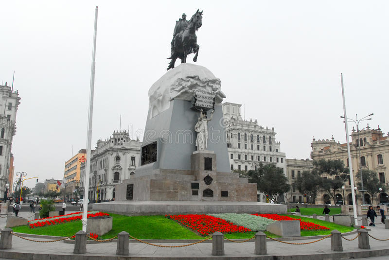 Plaza San Martin, Lima, Perú foto de archivo