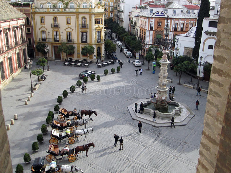 Plaza in Seville Spain stock photography
