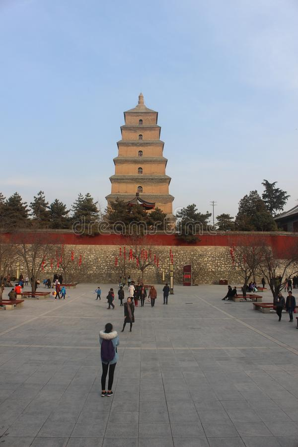 Plaza on the side of Xi`an Big Wild Goose Pagoda stock images