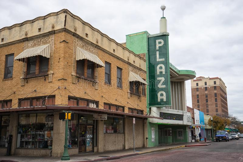 Plaza theater in Laredo Texas seen from the street stock images