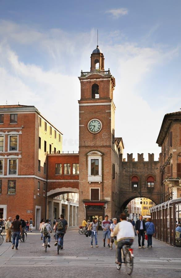 Plaza Trento e Trieste en Ferrara Italia imagen de archivo libre de regalías