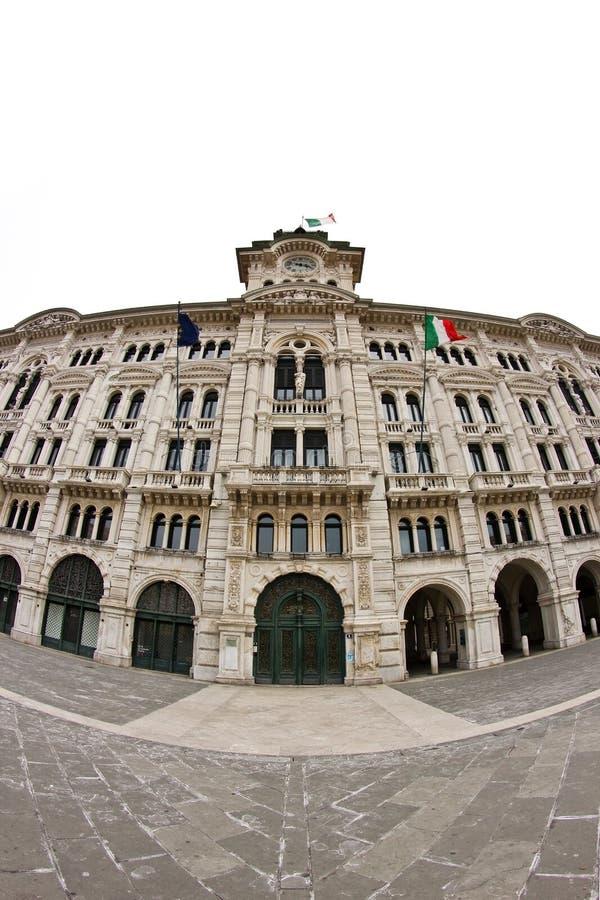 Plaza Unità de Trieste en fisheye imagen de archivo libre de regalías