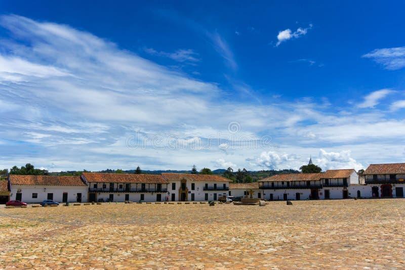 Plaza in Villa de Leyva, Colombia immagine stock