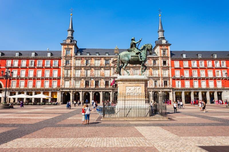 Plazaborgmästaren är en central plaza i Madrid, Spanien arkivbild