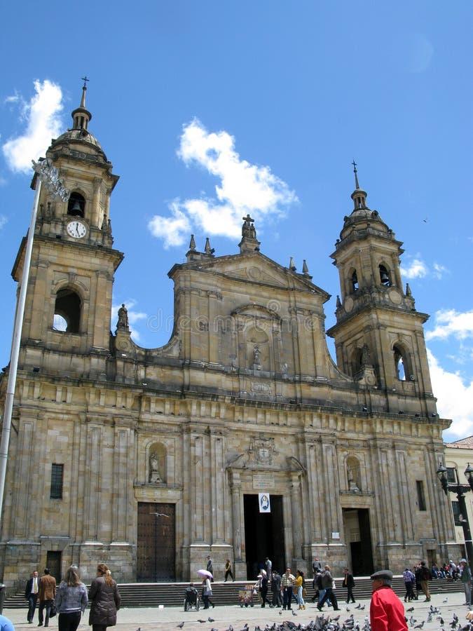 Plazaen Bolivar för huvudsaklig fyrkant av huvudstaden Bogot för Colombia ` s royaltyfria bilder