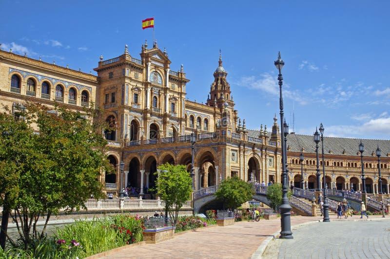 Plazaen de Espana i Seville, Andalusia Spanien fyrkant arkivfoto