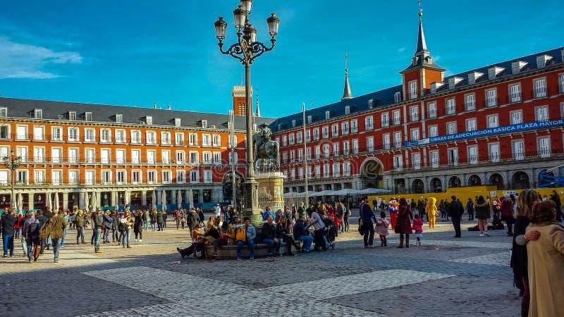 Plazaen ha som huvudämne i Madrid, Spanien royaltyfri foto