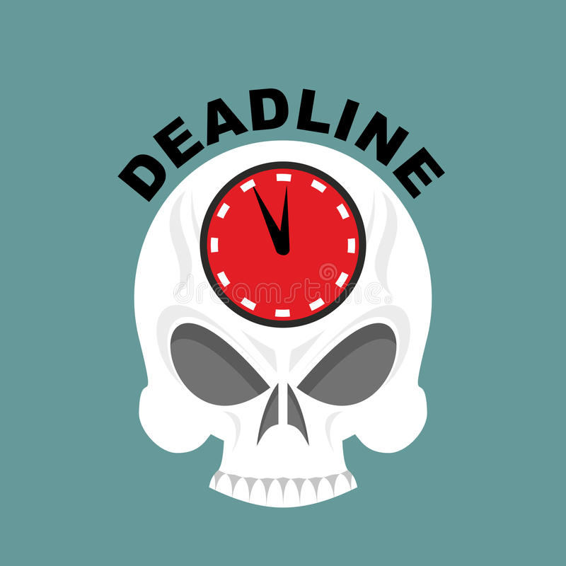 plazo Cráneo con un reloj No bastante tiempo Illustrati del vector libre illustration