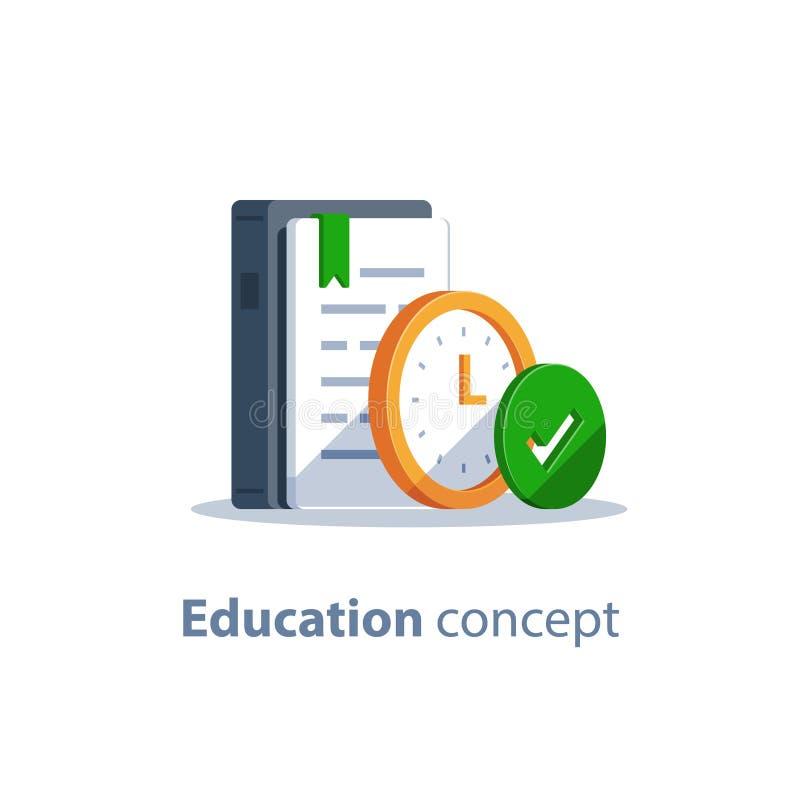 Plazo de la asignación, preparación del examen, curso de aprendizaje sujeto, concepto de la educación, libro de la gramática stock de ilustración