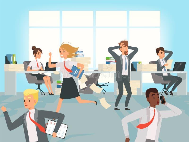 Plazo de la oficina Los encargados de los trabajadores del negocio subrayan el funcionamiento en lugares de trabajo en los caract ilustración del vector