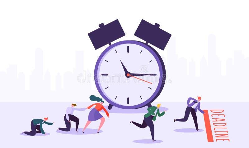 Plazo de la oficina y competencia de los caracteres del negocio Gestión de tiempo en el camino al grupo del éxito de hombres de n libre illustration