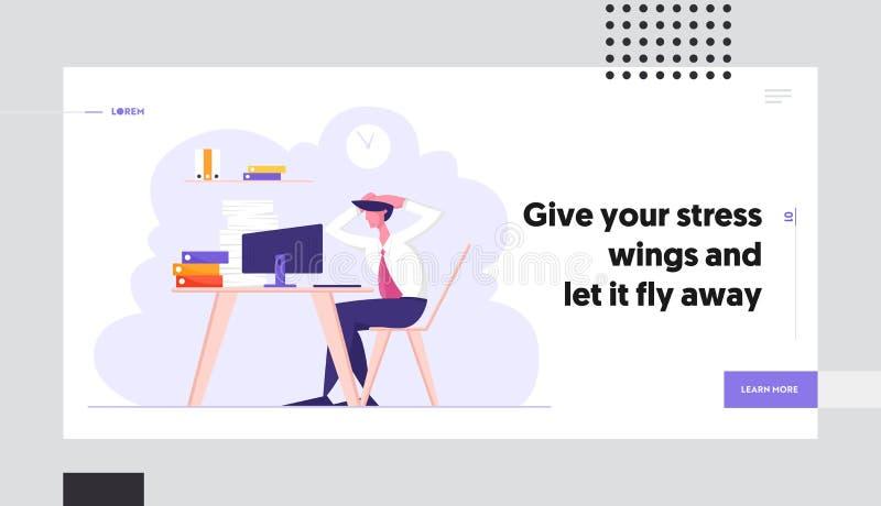 Plazo y página de papel del aterrizaje de la página web de la burocracia, empleado de oficina subrayado sobrecargado que se sient ilustración del vector
