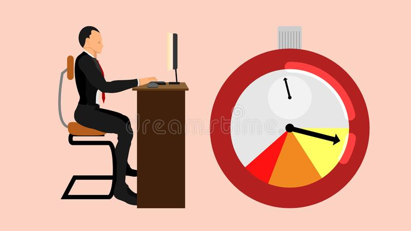 Plazos están persiguiendo a los oficinistas stock de ilustración