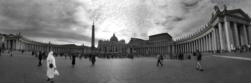 Plazza near Saint Peter Basilica in Vatican. stock photo