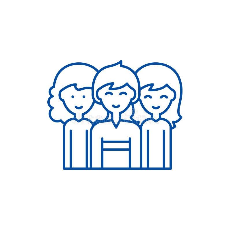Plciowej równości linii ikony pojęcie Plciowej równości płaski wektorowy symbol, znak, kontur ilustracja ilustracja wektor