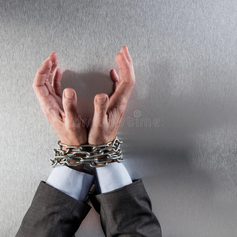 Pleading businessman hands tied begging for concept of suspicious management stock photos