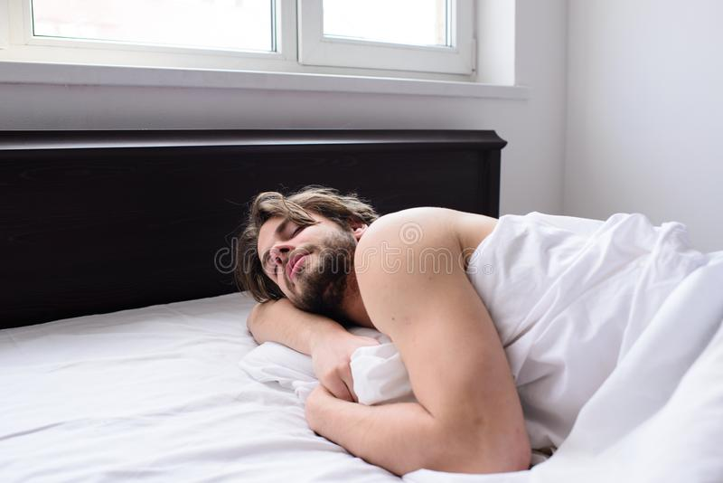 Pleasant dream concept. Man sleepy unshaven bearded face sleep has rest. Guy macho lay white bedclothes. Let your. Body feel comfortable. Man unshaven handsome royalty free stock images