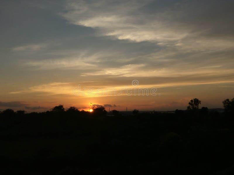 pleasant evening sunset stock photography