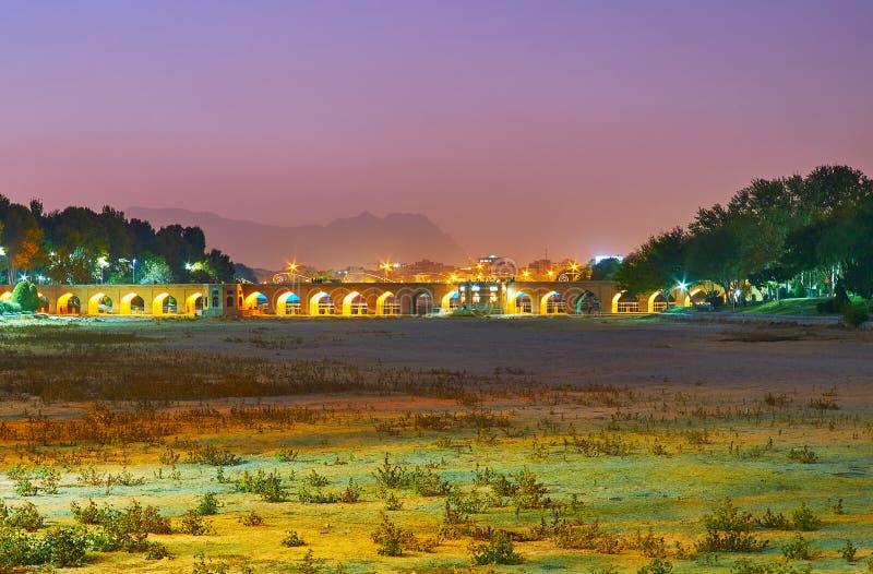 Joui bridge in evening lights, Isfahan, Iran stock photos