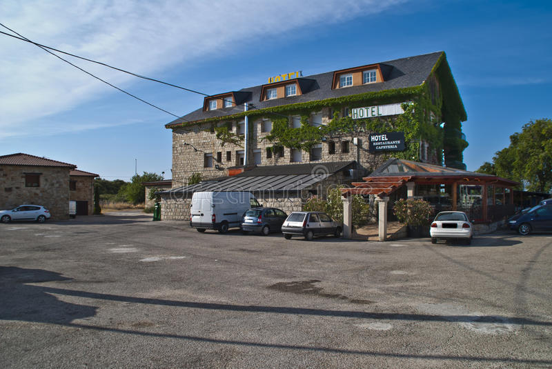 Pleasant mountain hotel in Spain. Hotel Mavi is located in the mountains at La Cabrera about 60 km from Madrid. The hotel is on a head of about 1400 m above sea royalty free stock photos