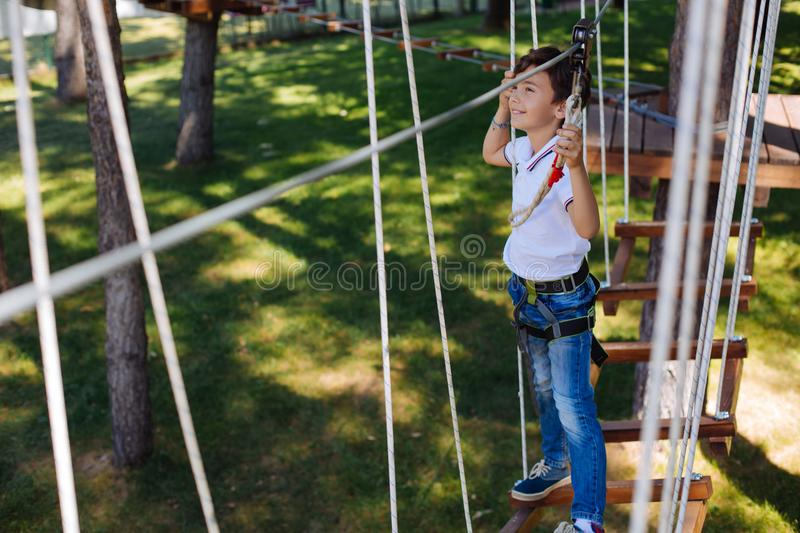 Pleasant preteen boy walking along trail at rope park royalty free stock photography