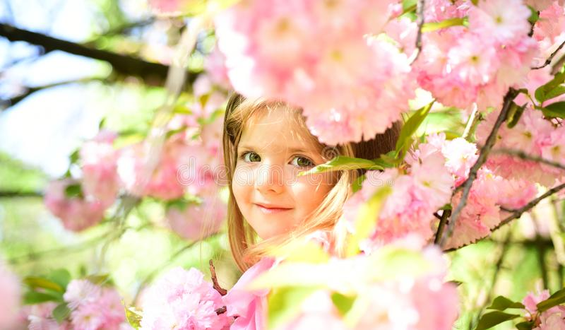 Pleasant spring day. Small child. Natural beauty. Childrens day. Summer girl fashion. Happy childhood. face and skincare stock photography