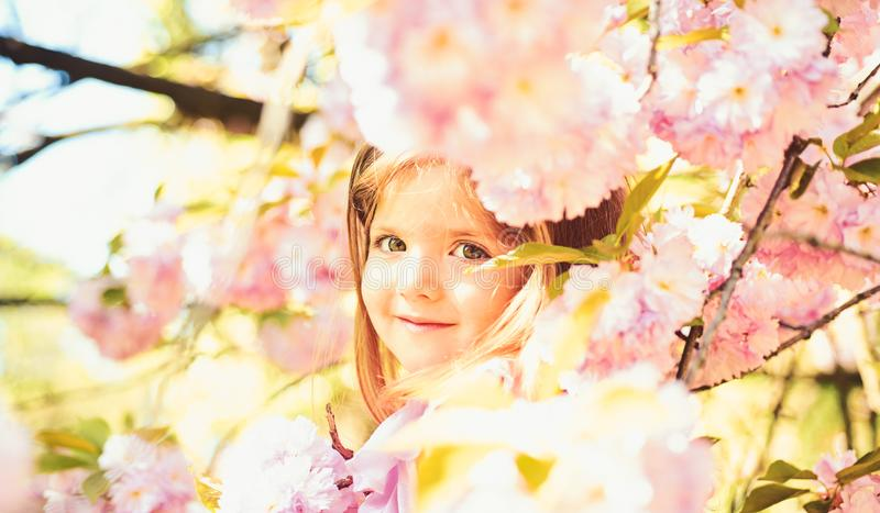Pleasant spring day. Small child. Natural beauty. Childrens day. Summer girl fashion. Happy childhood. face and skincare stock image