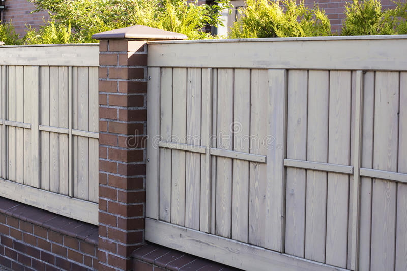 A pleasant sunny backyard with green grass and a nice wood fence royalty free stock images