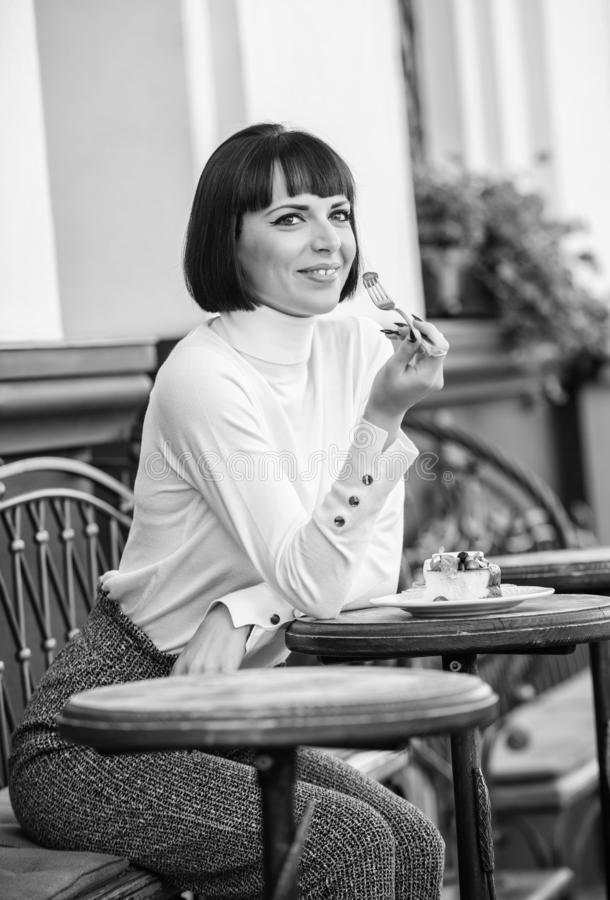 Pleasant time and relaxation. Delicious gourmet cake. Girl relax cafe with cake dessert. Gourmet concept. Excellent. Taste. Woman attractive elegant brunette stock images