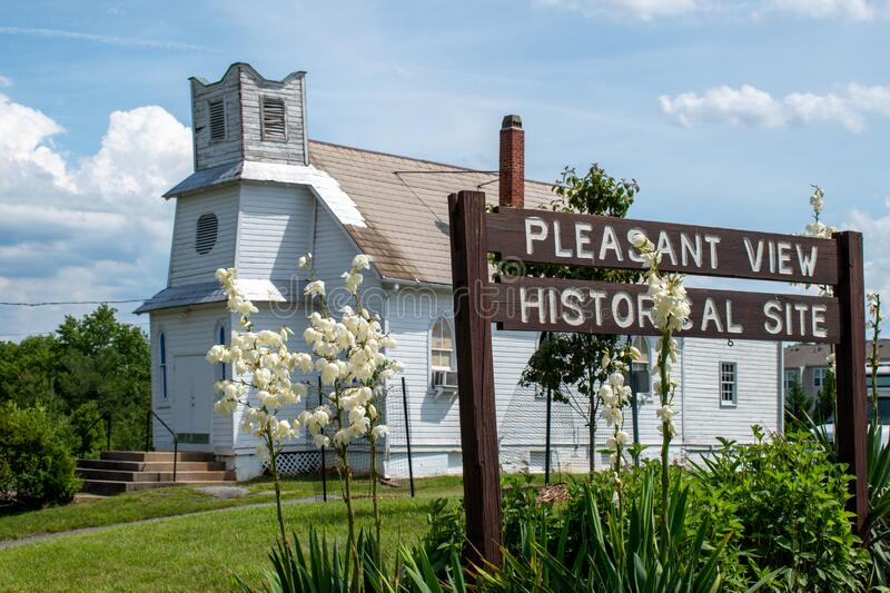 Pleasant View Historical Site. GAITHERSBURG, MD - JUNE 26, 2020: A sign marks the Pleasant View Historical Site in Montgomery County, Maryland. The site dates stock images
