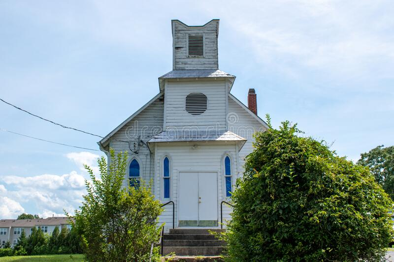 Pleasant View Methodist Episcopal Church. GAITHERSBURG, MD - JUNE 26, 2020: Sunlight shines on the Mount of Olives Church  in Montgomery County, Maryland. The stock photos