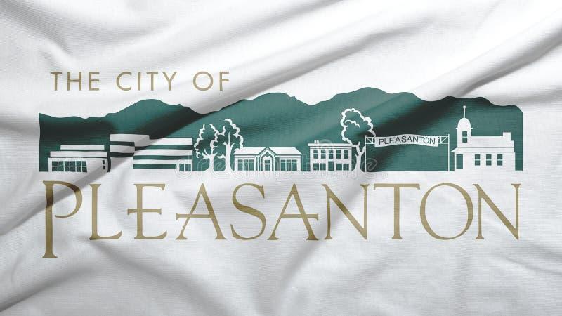Pleasanton of California of United States flag background. Pleasanton of California of United States flag on the fabric texture background stock image