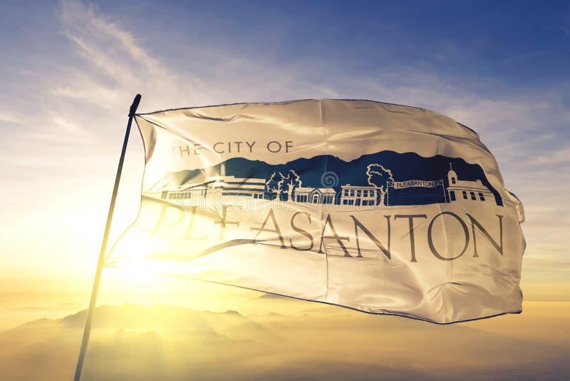 Pleasanton of California of United States flag waving on the top. Pleasanton of California of United States flag waving royalty free stock image