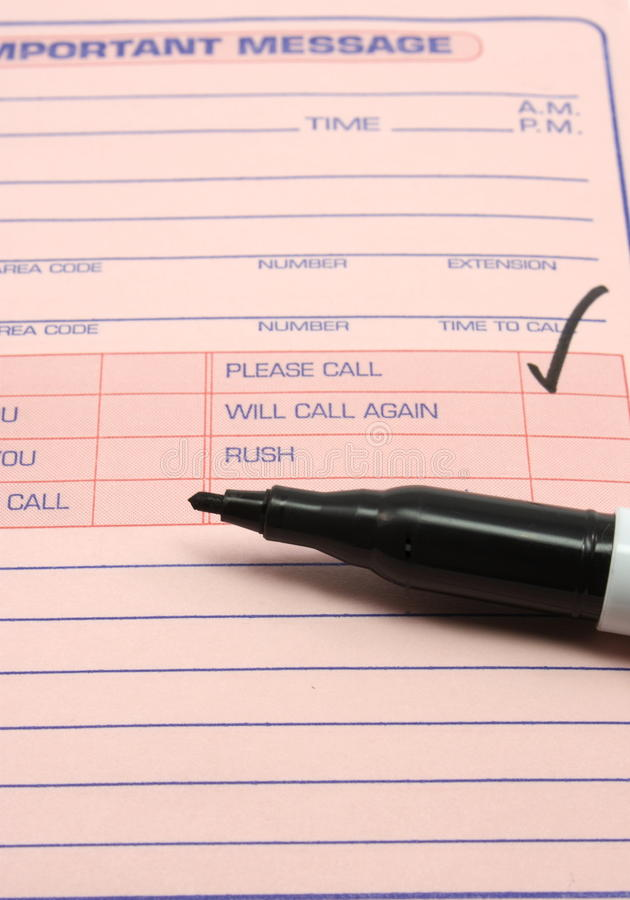 Please Call Important Message royalty free stock photography