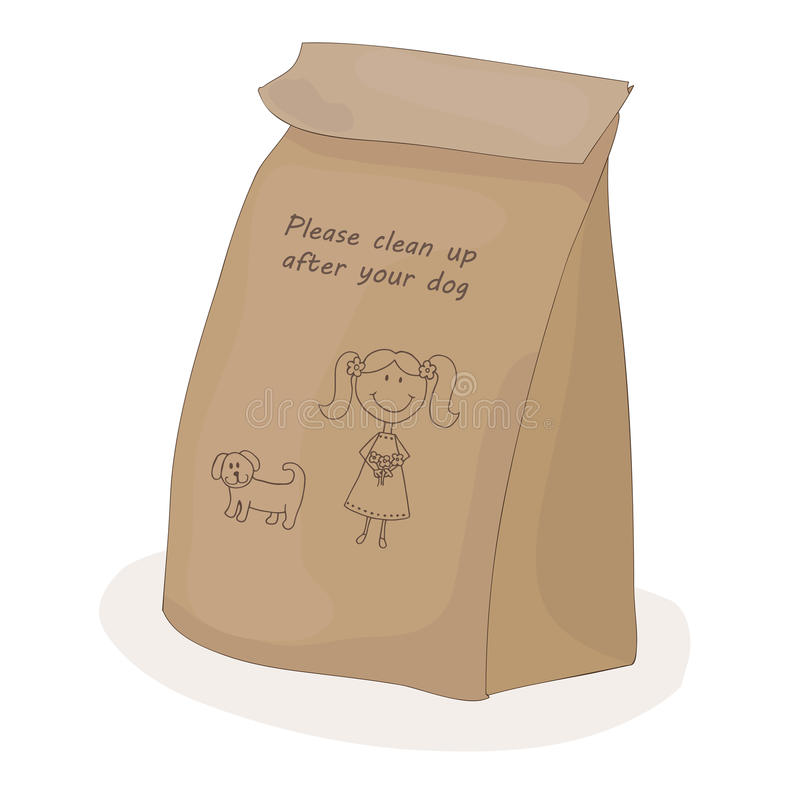 Please clean up after your dog. Paper package for a piece of shit. Vector girl with pet. Please clean up after your dog. Paper package for a piece of shit stock illustration