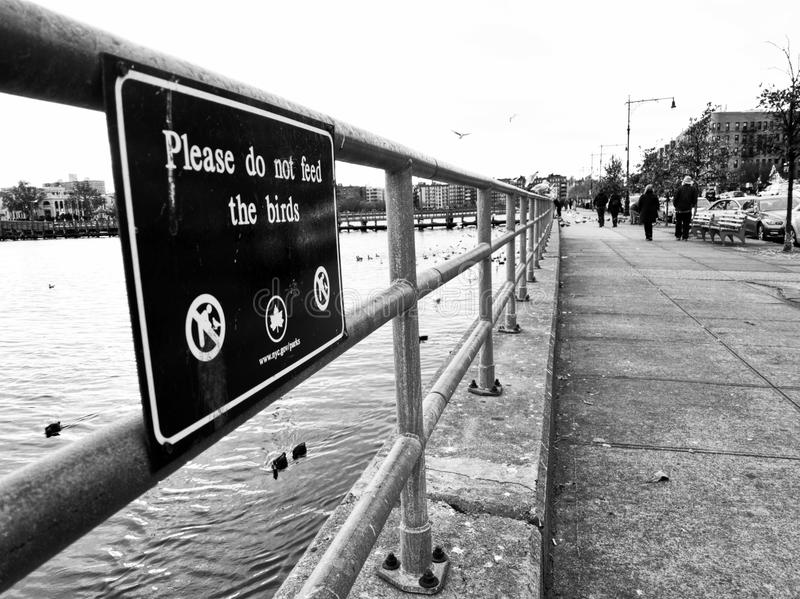 `Please don`t feed the birds` sign in Brooklyn. B/W photo of the `Please don`t feed the birds` sign in Brooklyn, NYC, NY, USA. It is fixed on the rails between a royalty free stock image