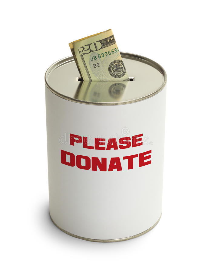 Please Donate. Can with Money Isolated on White Background stock image
