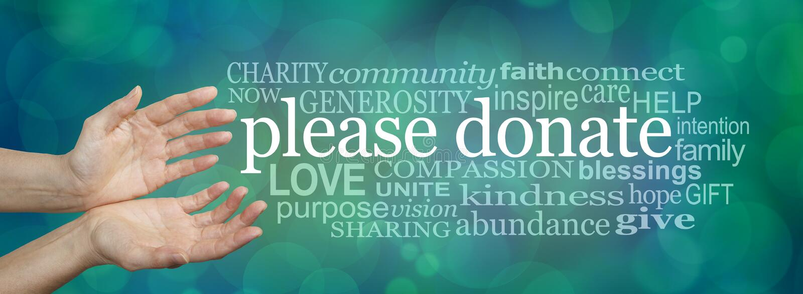 Please donate fund raising word cloud banner. Wide banner with a woman's hands in an open cupped needy gesture with a word cloud on the right surrounding the royalty free stock images