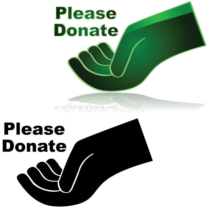 Please donate. Icon showing an open hand with the words Please donate beside it vector illustration