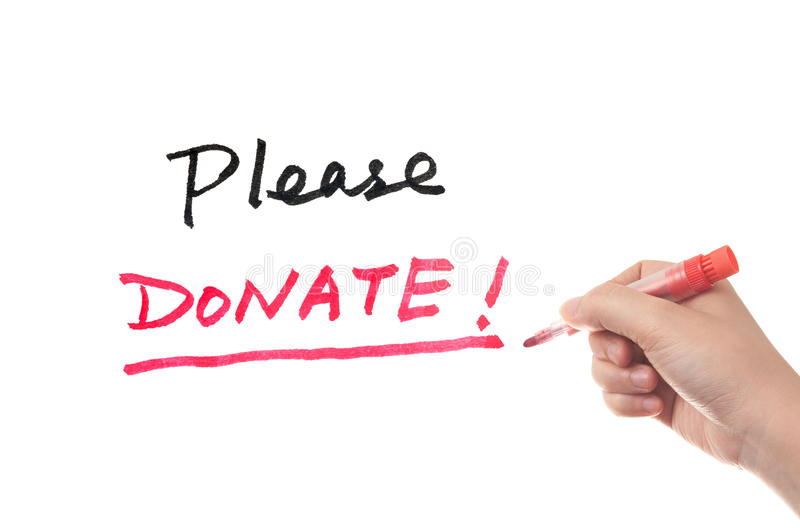 Please donate. Words written on white board royalty free stock image