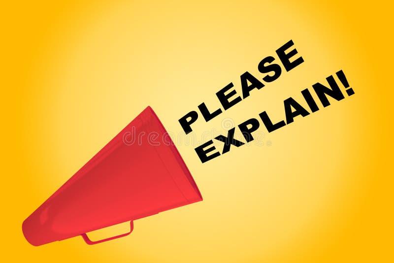 Please Explain! concept. 3D illustration of PLEASE EXPLAIN! title flowing from a loudspeaker royalty free illustration