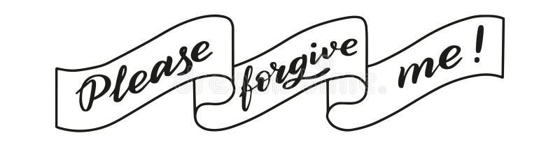 Please förlåter mig! Borsta pennbokstäver vektor stock illustrationer